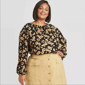 Ava & Viv black blouse with yellow flowers